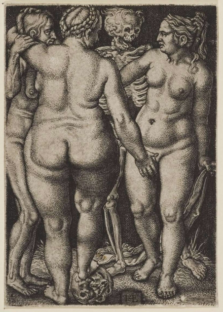Fig. 2. Sebald Beham. 1546-50 (reworked plate of Barthel Beham c1535-7). Three Nude Women and Death.