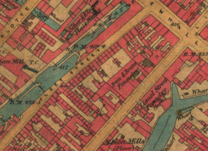 Late 19th-century map showing Fleet Street. Caroline's daughter, also called Caroline, lived briefly at number 3 Fleet Street in 1891, located near the corner of Newhall Street. Just a stone's throw away, she may well have seen the construction of Newman Brothers, which began in 1892.