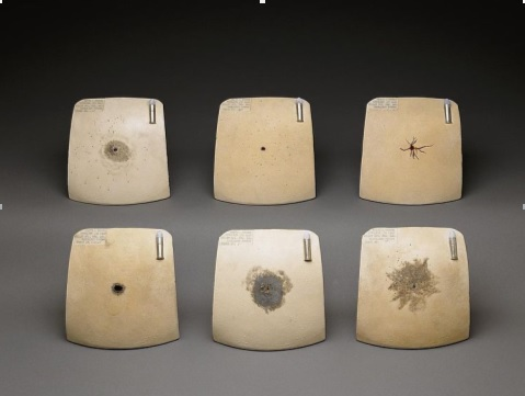 """""""Chest plates commissioned by Frances Glessner Lee as a teaching and reference tool to determine the distance a bullet was shot"""