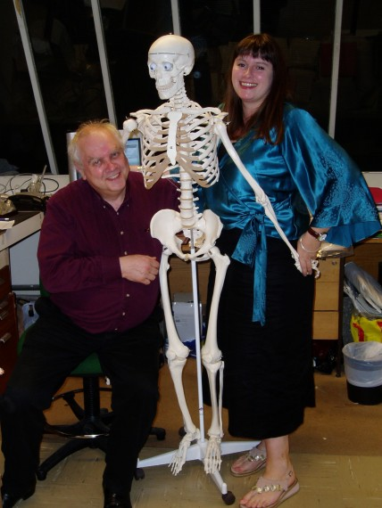 Bill White and Jelena Bekvalac with plastic Dr W in Centre for Human Bioarchaeology