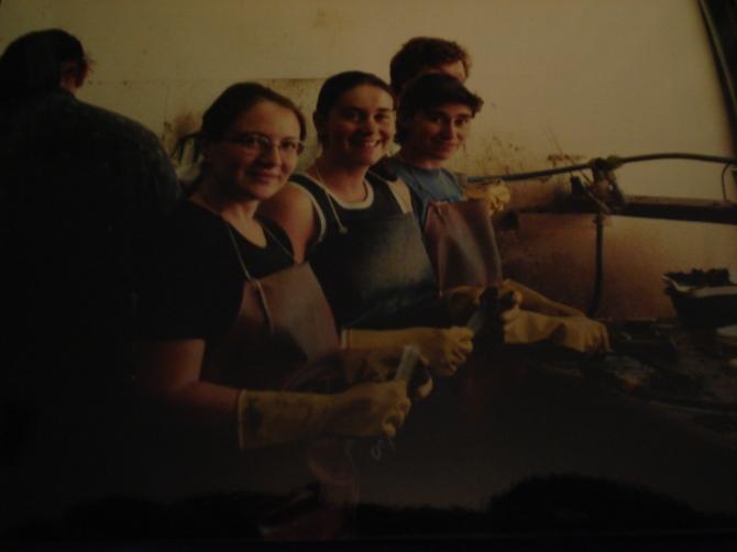 Fellow osteological processors Spitalfields Market, Anwen, Susan and Fran