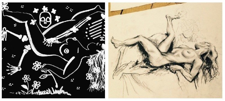 Beautiful examples of artwork produced at the Dead Meet 'Death & the Maiden' event