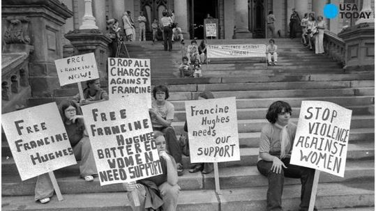 Protesters advocating for the release of Francine Hughes