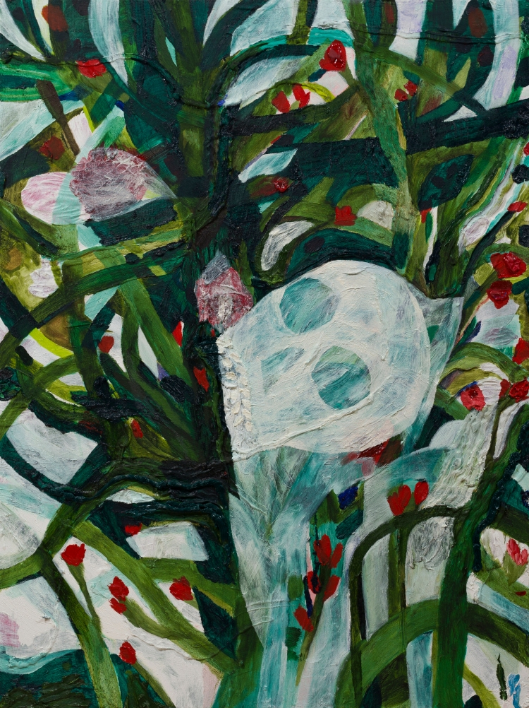 2. Thru The Vines 2; 2018THru the vines 2 Oil, caulk, acrylic, pumice medium on canvas 40.0h x 30in