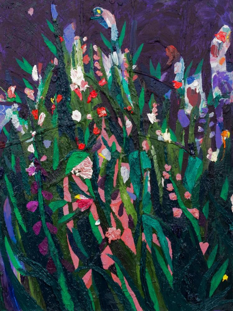 3. Untitled; 2018 Oil, R+F sticks, caulk, acrylic, pumice medium on canvas 40.0h x 30.0w in